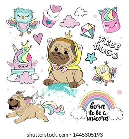 Fashion patch badges with cute dog pug unicorn, owls and sweets in kawaii style on a white background collection