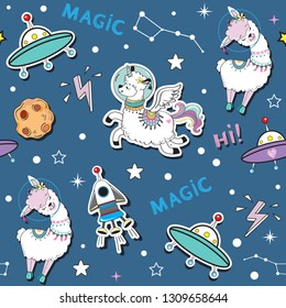 Fashion patch Badges with cute space llama and space rocket seamless pattern on a blue background
