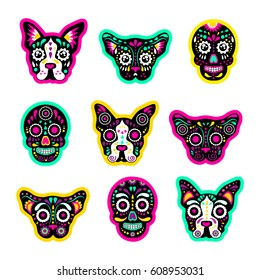 Fashion patch badges with dogs, bulldog, Skulls, calavera,  and other. Very large set of girlish and boyish stickers, patches in cartoon isolated.Trendy print for backpacks, things, clothes