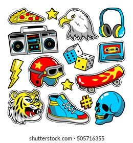 Fashion patch badges with eagle, tiger, skateboard, tape recorder, skull, etc. Vector illustration isolated on white background. Set of stickers, pins, patches in cartoon 80s-90s pop-art comic style.