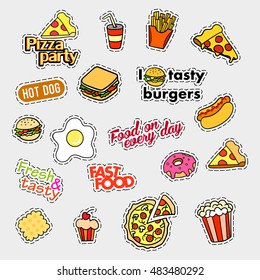 Fashion patch badges. Fast food set. Stickers, pins, patches and handwritten notes collection in cartoon 80s-90s comic style. Trend. Vector illustration isolated. Vector clip art.