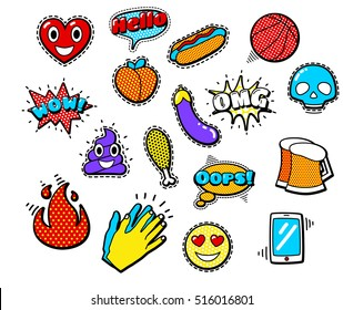 Fashion Patch Badges with Heart, Speech Bubbles, Fire, Eggplant, Peach, Hands. Vector Illustration Isolated on White Background. Set of Stickers, Pins, Patches in Cartoon 80s-90s Comic Style.