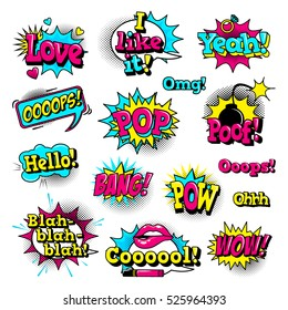 Fashion patch badges with lips, hearts,shoes, lipstick,cosmetics, stars, cool text and other elements with stroke. Set of stickers and patches in cartoon 80s-90s comic style in vector. Ready for print
