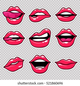 Fashion patch badges with lips and white stroke. Set of stickers and patches in cartoon 80s-90s comic style in vector. Ready for print