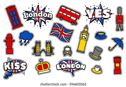 Fashion Patch Badges with London's Symbols, Bus, Crown, Cloud, Hat, Flag, Umbrella Cup of Tea, Red Telephone Box, Tower Bridge, Big Ben . Set of Stickers, Pins, Patches in Cartoon 80s-90s Comic Style.