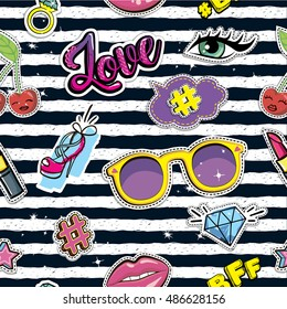 Fashion patch badges on seamless pattern. Black and white Stripes repeated backdrop. Set of comics stickers cherry, brilliant, Lips, speech bubbles, eyes, shoes, lipstick, rings, eyelashes, sunglasses