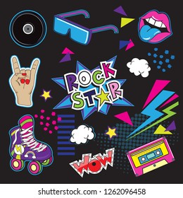 Fashion Patch Badges with rollers, cassette, lips and inscription rock star. Pop art items seamless pattern on a black background