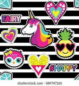 Fashion patch badges in sketch comics style. Abstract seamless pattern. Hearts,pineapple, owl, unicorn, diamond and hashtags elements HAPPY, FAIRI on repeated stripes background.