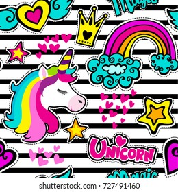 Fashion patch badges in sketch comics style. Abstract seamless pattern. Stickers hearts, crown, rainbow, stars, unicorn on repeated stripes background.