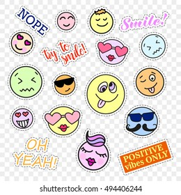 Fashion patch badges. Smiles set. Stickers, pins, patches and handwritten notes collection in cartoon 80s-90s comic style. Trend. Vector illustration isolated. Vector clip art.