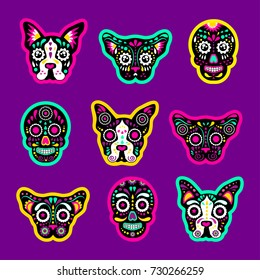 Fashion patch badges with sugar skull, dog and cat, day of the dead Very large set of girlish and boyish stickers, patches in cartoon isolated.Trendy print for backpacks, things,clothes