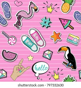 Fashion Patch Badges with summer elements collection on a pink background seamless pattern