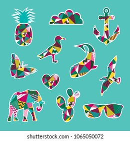 Fashion patch badges. Summer set. Vector collection.
