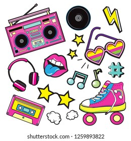 Fashion Patch Badges with tape recorder, cassette, rolls, glasses and sheet music. Pop art elements on a white background