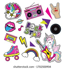 Fashion patch badges with a tape recorder, a unicorn with a guitar, lips, hands on a white background. Pop Art elements. Vector illustration for children