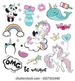 Fashion Patch Badges with unicorn and summer items. Pop art elements