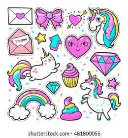 Fashion patch badges with unicorns, hearts, cats, rainbow and other elements for girls. Vector illustration isolated on white background. Set of stickers, pins, patches in cartoon 80s-90s comic style.