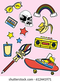 Fashion patch badges with, skull, sunglasses, rainbow, banana, juice, cassette, stars. Vector illustration isolated on pink background. Set of stickers, pins, patches in cartoon 80s-90s comic style.