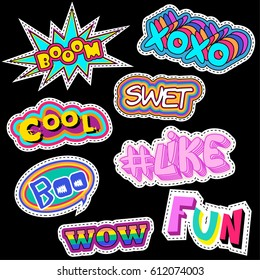 Fashion patch badges with word wow, like, cool, boo,bom, fun, xoxo and other elements. Set of girlish stickers, patches in cartoon isolated on white background
