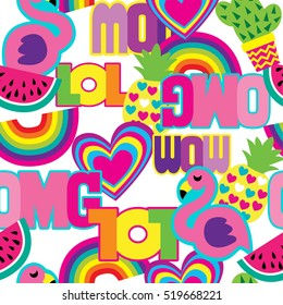 "Fashion patch badges.Abstract seamless pattern.Colorful Hearts,cactus,flamingo, pineapple,rainbow, words ""wow"", ""omg"", ""lol"" on white background.Girlish funny wallpaper for textile and fabric."