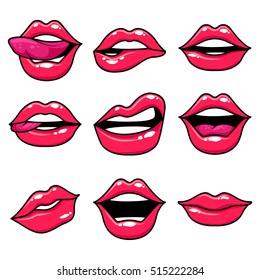 Fashion patch set with lips. Set of stickers and patches in cartoon 80s-90s comic style. Vector illustration on white background.