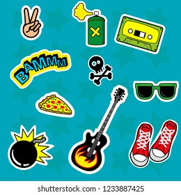 Fashion patch stickers badges with skull, love, boom, glasses, peace, bomb, guitar, pizza, Sneakers and other. Very large set of girlish, stickers, patch in cartoon isolated. Boys punk stickers.