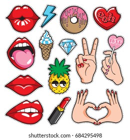 Fashion patches collection with trendy cartoon style. Vector illustration set of stickers, pins, patches in cute style.
