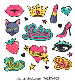 Fashion patches collection. Vector illustration of female symbols and icons, such as kissing lips, lipstick, cat, shoe, crown, strawberry and heart. Isolated on background.
