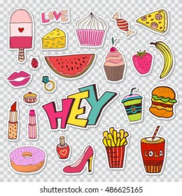 Fashion patches elements with sweets food and girly elements. Vector doodle funny badges. Modern vector clip art. Cartoon stickers in 80s 90s comic trendy style.