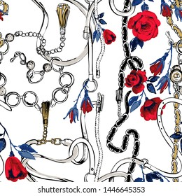 Fashion pattern with fashion blue belts and red flowers. Vintage floral sketch seamless pattern on white background. Baroque fabric design. Flowers on belts, nature and art.