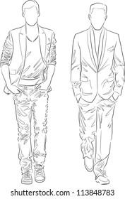 Fashion people outline - vector set