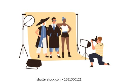 Fashion photography backstage. Photographer taking photo or shooting models posing in fashionable clothes in studio with professional light. Flat vector illustration isolated on white background