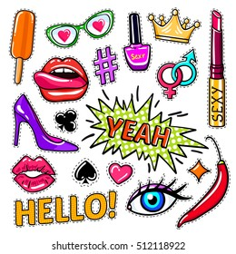 Fashion pop art patches set with letterings makeup and card suits eye and lips isolated vector illustration