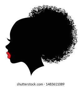 Fashion portrait of an afro american girl. Cute girl vector illustration. Character design black silhouette with red pips and bun hair stile