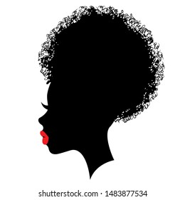 Fashion portrait of an afroamerican girl black silhouette with red lips and bun hairstyle