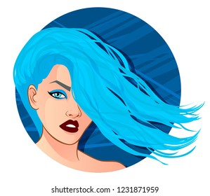 Fashion Portrait. Aquarius, Pisces zodiac sign, vector illustration