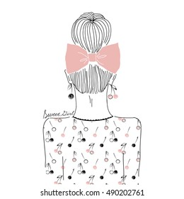 fashion portrait of girl from back in patterned top