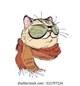 fashion portrait of kitten boy, cat with scarf and glasses, hand drawn isolated on white, vector illustration