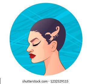 Fashion Portrait. Scorpio zodiac sign, vector illustration