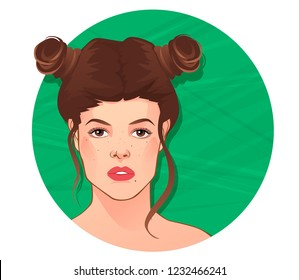 Fashion Portrait. Taurus zodiac sign, vector illustration