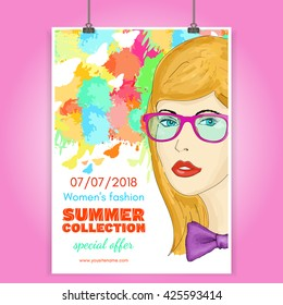 Fashion poster beautiful girl collection clothes fashionable woman vector illustration