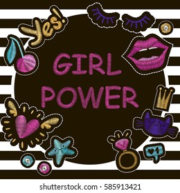 "Fashion poster ""Girl Power"" with cute patch badges embroidery. Vector trendy illustration."