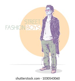Fashion poster in pastel colors.