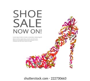 Fashion poster of women multicolor shoes on white background. Text outlined