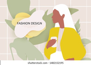 Fashion poster with young woman. Beautiful girl with cup of coffee. Vector trendy illustration in flat style. Face profile. Girl Silhouette. Abstract female portrait.