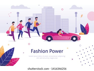 Fashion Power. Beautiful Woman Drive Pink Cabriolet Man Run Behind Vector Illustration. Cartoon Character Male Admire Attrative Girl in Car. Confident Smiling Female Driver in Automobile