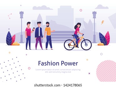 Fashion Power. Beautiful Woman Ride Electric Bicycle Man Looking Behind Vector Illustration. Cartoon Character Male Admire Attrative Girl Bike Rider. Smiling Female Bicyclist on City Street
