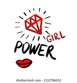 Fashion power girl background with brush strokes. Design backgrounds for stickers, t shirt graphics, prints, posters, cards . Vector illustration