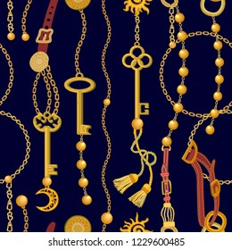 Fashion print with keys, chains, beads, straps and brushes. Seamless vector pattern with jewelry elements. Women's fashon collection. On black background.