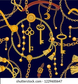 Fashion print with keys, chains, beads, straps and brushes. Seamless vector pattern with jewelry elements. Women's fashon collection. On dark background.